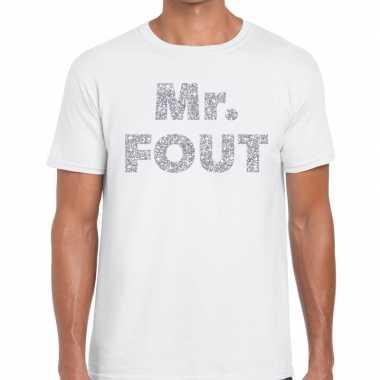 Mr. fout zilveren letters fun t shirt wit heren