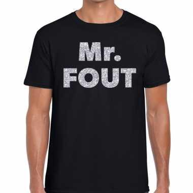 Mr. fout zilveren letters fun t shirt zwart heren
