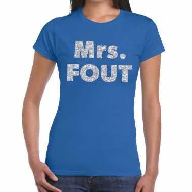 Mrs. fout fun t shirt blauw zilver dames