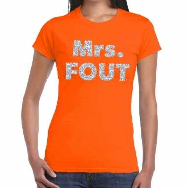 Mrs. fout fun t shirt oranje zilver dames