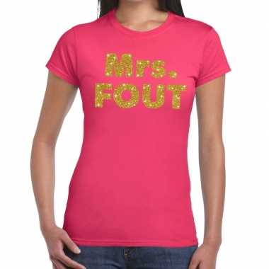Mrs. fout fun t shirt roze dames