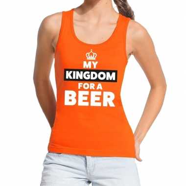 My kingdom for a beer topje/shirt oranje dames