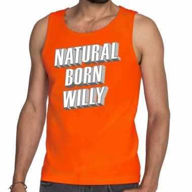Natural born willy tanktop / mouwloos shirt oranje heren