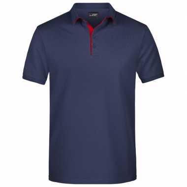Navy blauwe premium poloshirt golf pro heren