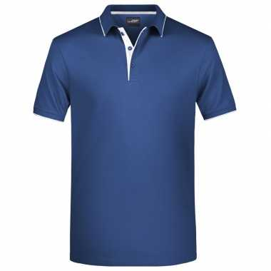 Navy/wit premium poloshirt golf pro heren