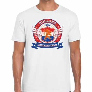 Nederland drinking team t shirt wit rwb heren