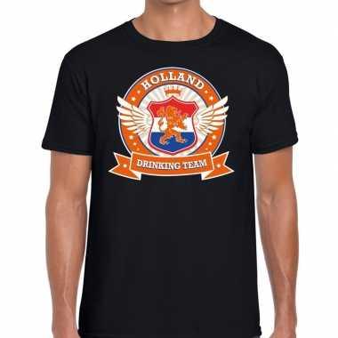 Nederland drinking team t shirt zwart heren