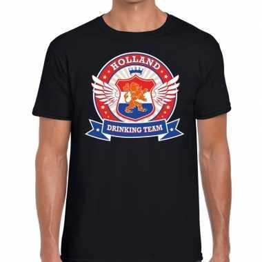 Nederland drinking team t shirt zwart rwb heren