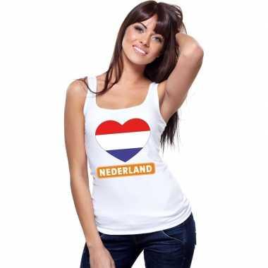 Nederland hart vlag mouwloos shirt wit dames