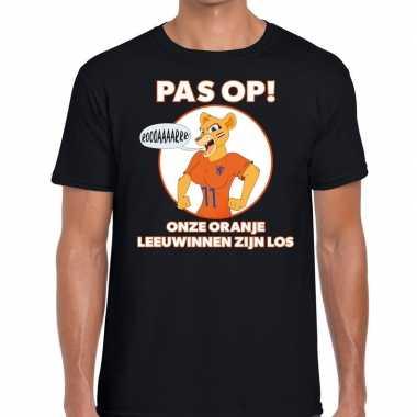 Nederlands dames elftal supporter shirt pas leeuwinnen zwart heren