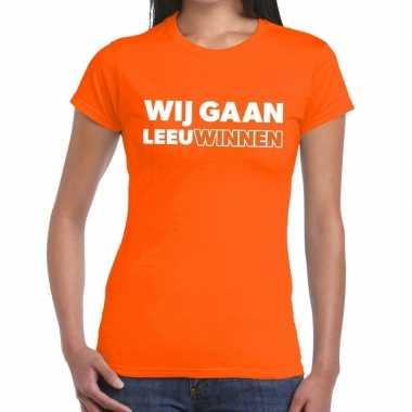 Nederlands elftal supporter shirt wij gaan leeuwinnen oranje dames