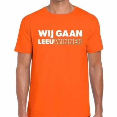Nederlands elftal supporter shirt wij gaan leeuwinnen oranje heren