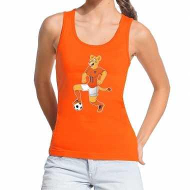 Nederlands elftal supporter tanktop / mouwloos shirt leeuwinnen bal o