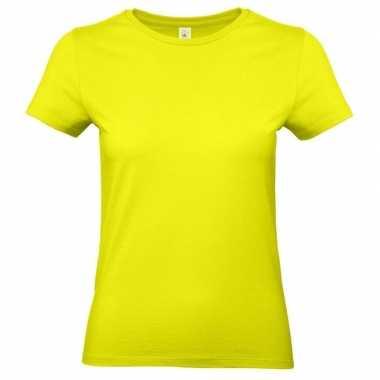 Neon gele shirt ronde hals dames