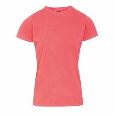 Neon oranje dames t shirts ronde hals
