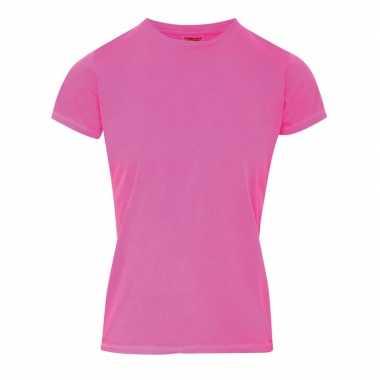 Neon roze dames t shirts ronde hals
