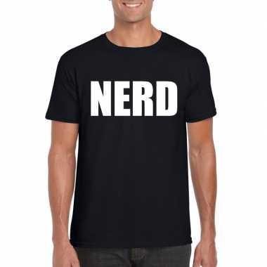 Nerd fun t-shirt zwart heren