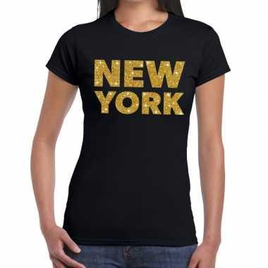 New york gouden letters fun t shirt zwart dames