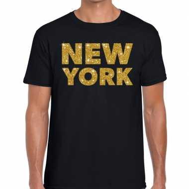 New york gouden letters fun t shirt zwart heren