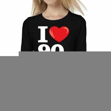 Nineties long sleeve shirt i love 90s bedrukking zwart dames