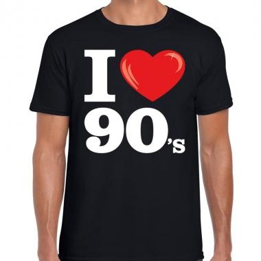 Nineties shirt i love 90s bedrukking zwart heren
