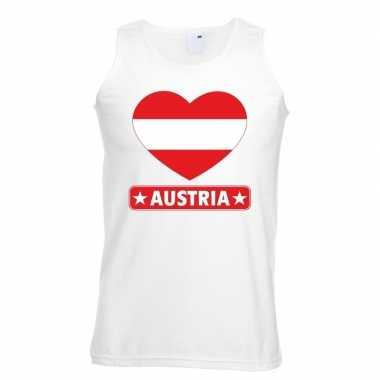 Oostenrijk hart vlag mouwloos shirt wit heren