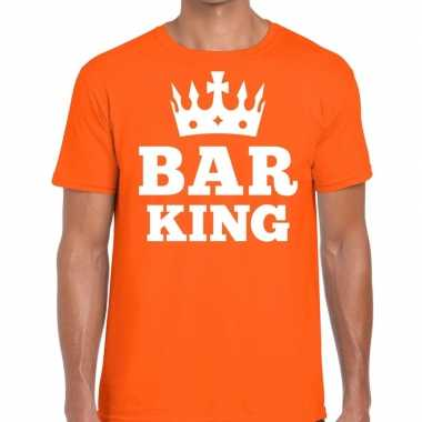 Oranje bar king t shirt kroontje heren
