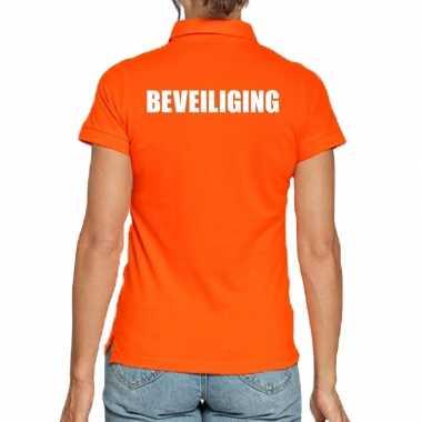 Oranje beveiliging polo t shirt dames