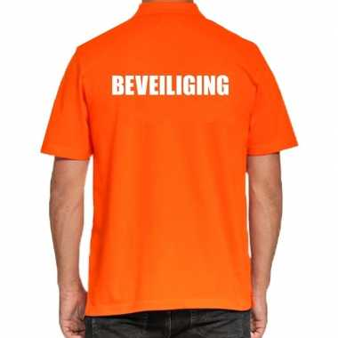 Oranje beveiliging polo t shirt heren