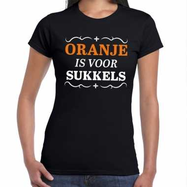 Oranje is sukkels shirt zwart dames