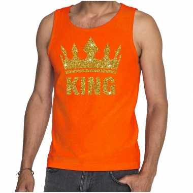 Oranje king gouden glitter kroon mouwloos shirt heren