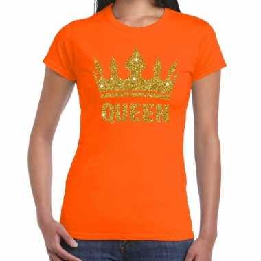 Oranje koningdag queen shirt gouden glitters kroon dames