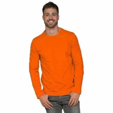 Oranje lange mouwen shirt heren