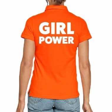 Oranje polo t shirt girl power dames
