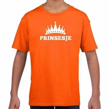 Oranje prinsesje kroon t shirt meisjes