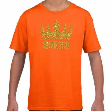 Oranje queen gouden glitter kroon t shirt kinderen