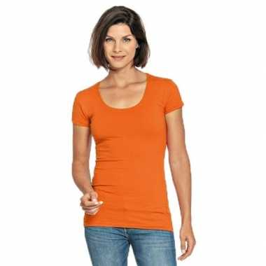 Oranje shirt ronde hals dames