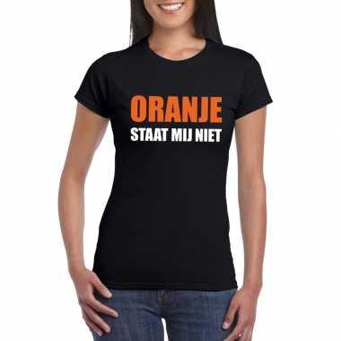 Oranje staat mij niet fun t shirt dames zwart