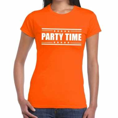 Oranje t shirt dames tekst party chick