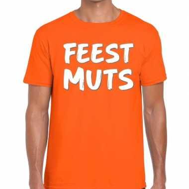 Oranje t shirt feestmutsvoor heren