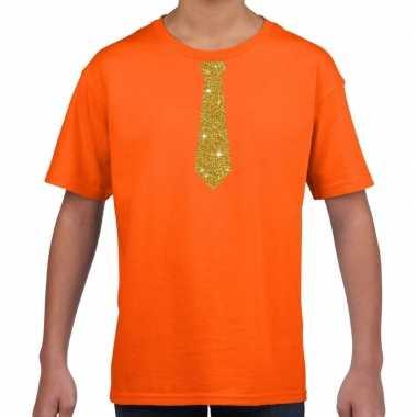 Oranje t shirt gouden stropdas kinderen