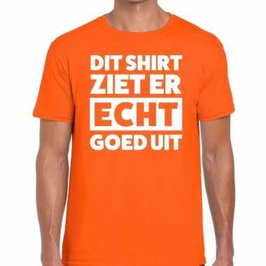 Oranje t shirt heren tekst dit shirt ziet er echt goed uit