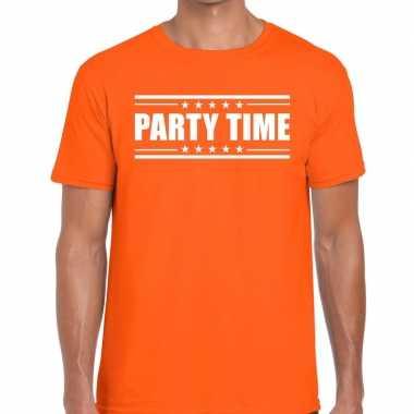 Oranje t shirt heren tekst party time