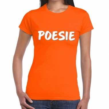 Oranje t shirt poesie dames