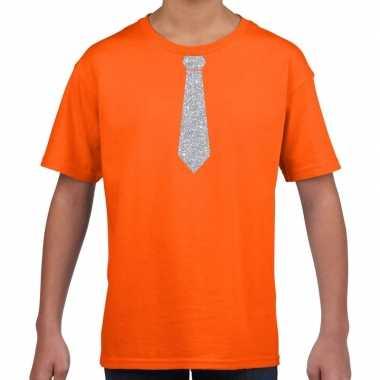 Oranje t shirt zilveren stropdas kinderen