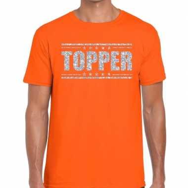 Oranje topper shirt zilveren glitter letters heren