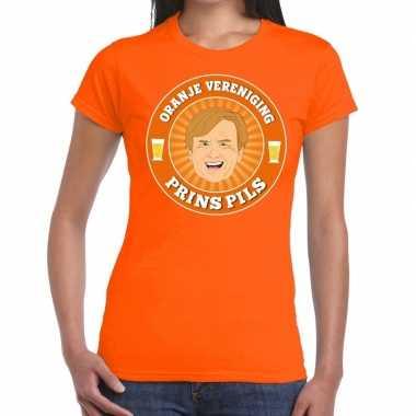 Oranje vereniging prins pils t shirt oranje dames