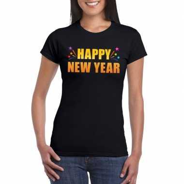 Oud nieuw shirt happy new year zwart dames