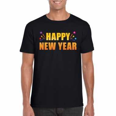 Oud nieuw shirt happy new year zwart heren