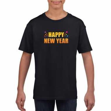 Oud nieuw shirt happy new year zwart jongens meisjes